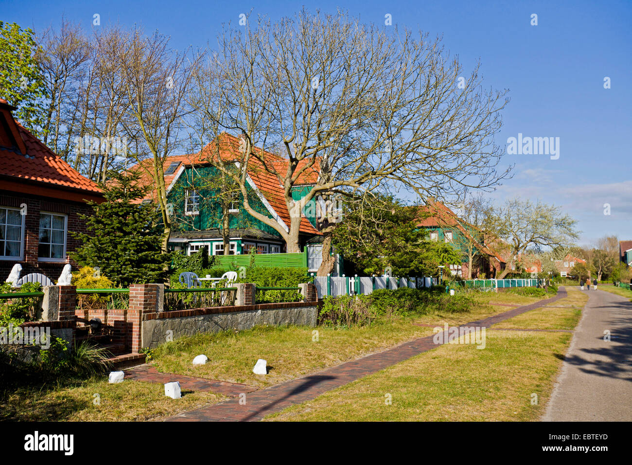 traditionell houses, Germany, East Frisia, Spiekeroog Stock Photo