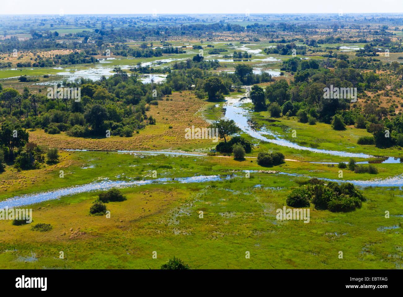 aerial view of the Okavango Delta, Botswana, Okavango Delta - Stock Image