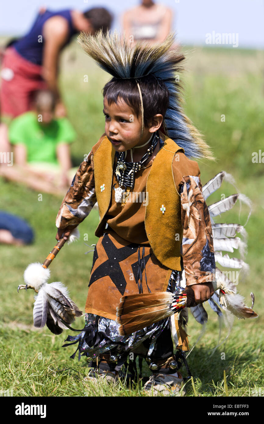 little boy dressed as Indian on Pow Wow event, Canada