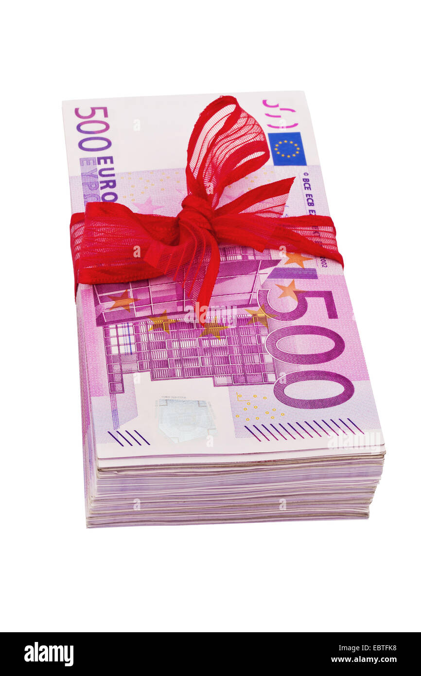 wad of 500 Euro bills with red gift ribbon, USA - Stock Image
