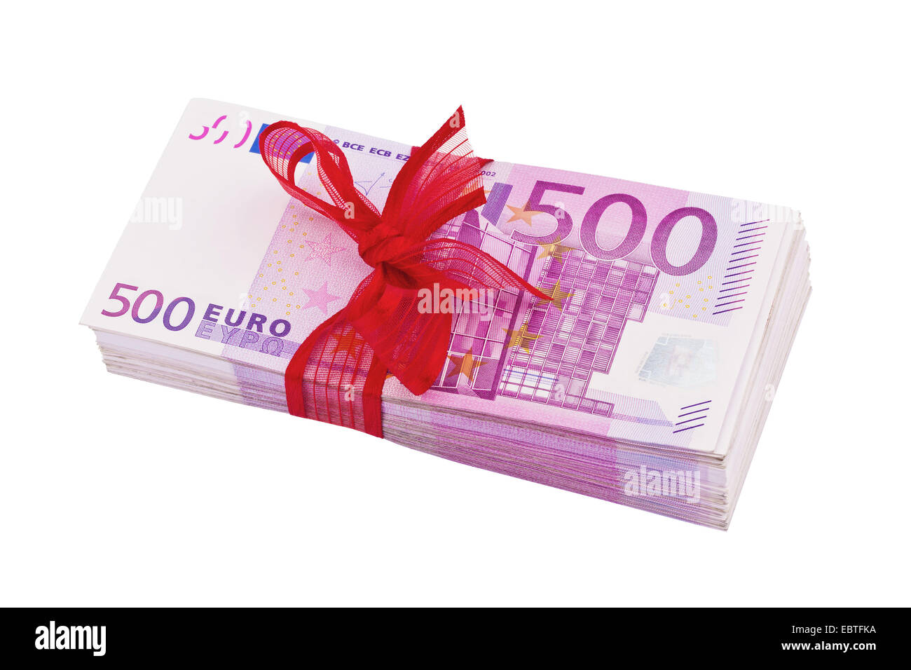 wad of 500 Euro bills with red gift ribbon - Stock Image