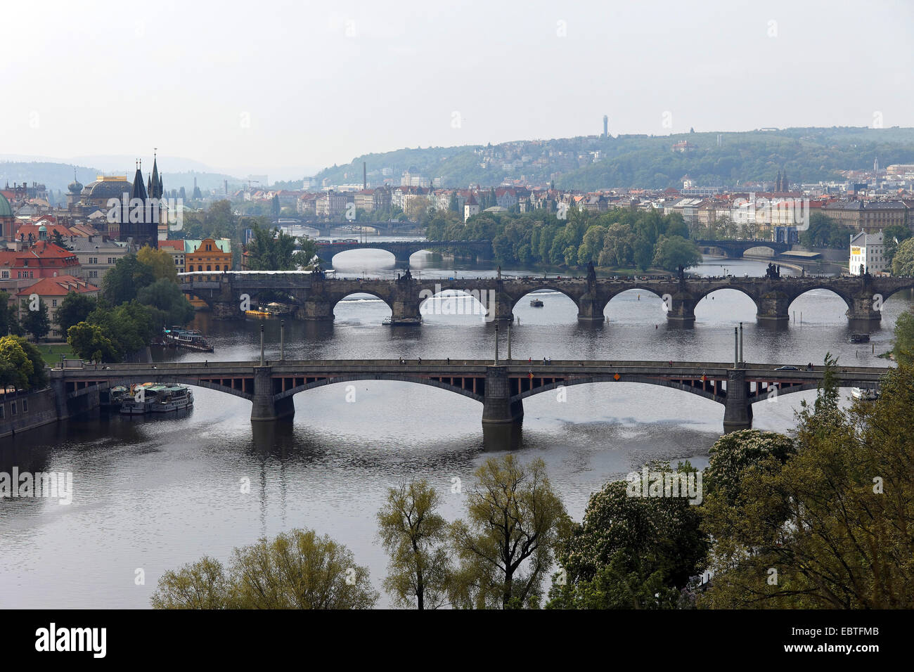 bridges over the Vltava river, Czech Republic, Prague - Stock Image