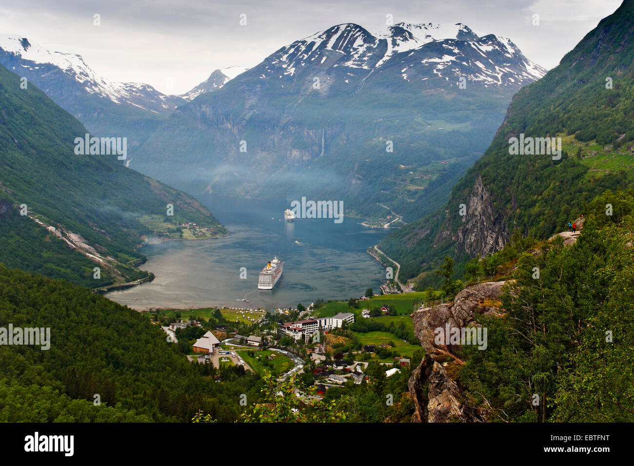 Geirangerfjord and cruise liners, Norway - Stock Image