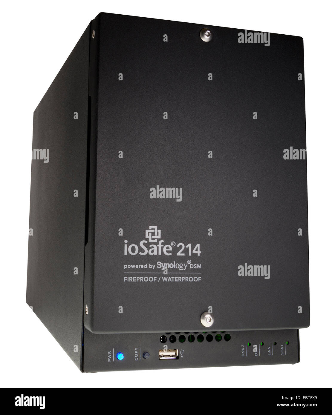 ioSafe 214 NAS (Network Attached Storage) Raid, powered by Synology DiscStation DSM. - Stock Image