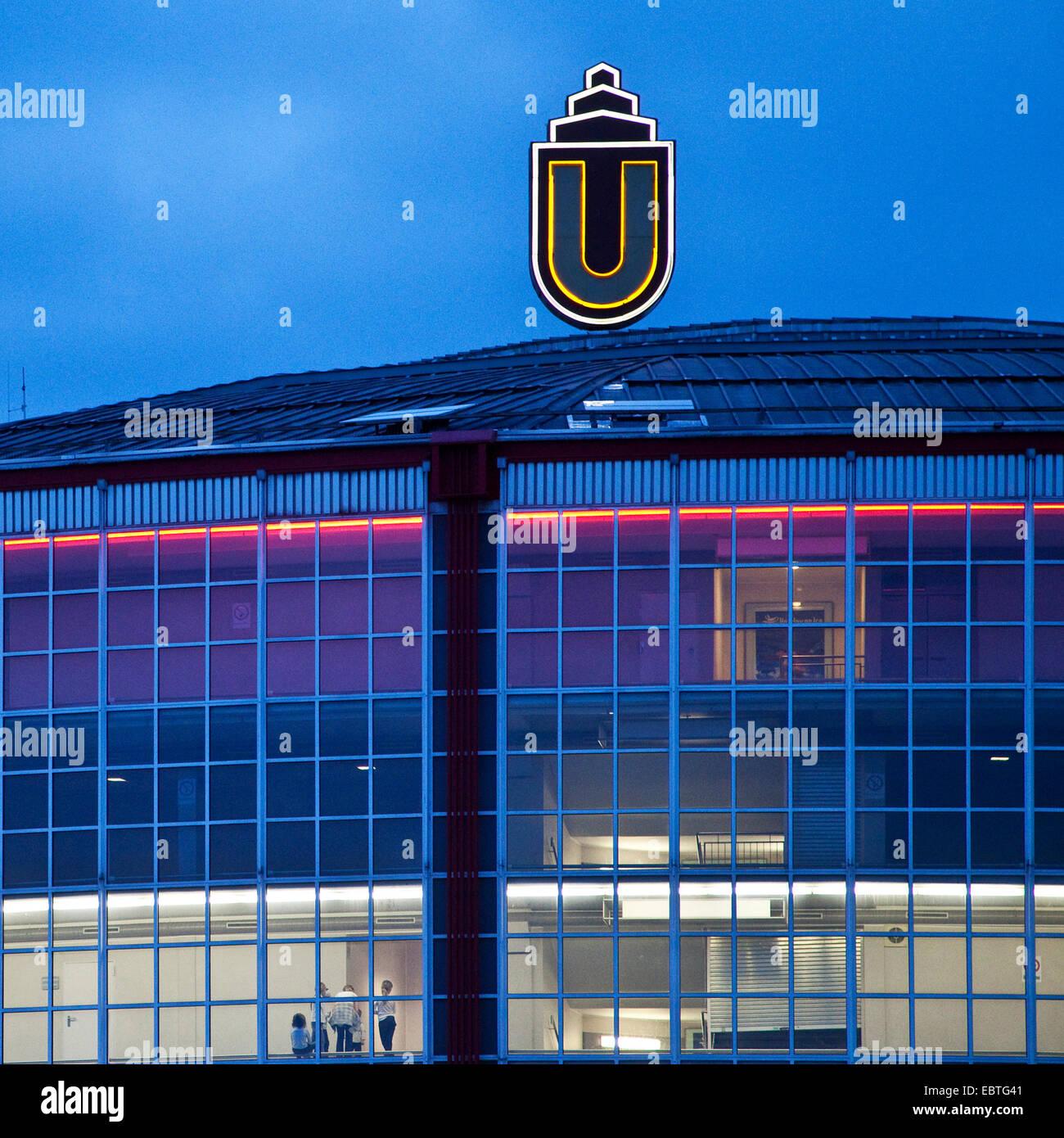 Westfalenhallen in twilight, Germany, North Rhine-Westphalia, Ruhr Area, Dortmund - Stock Image