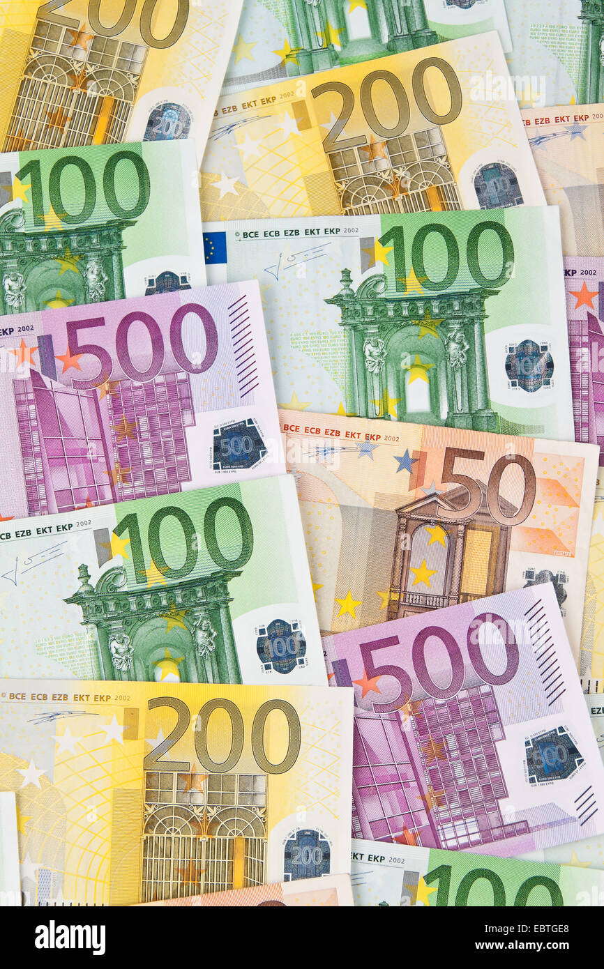 Many Euro banknotes of the European Union - Stock Image