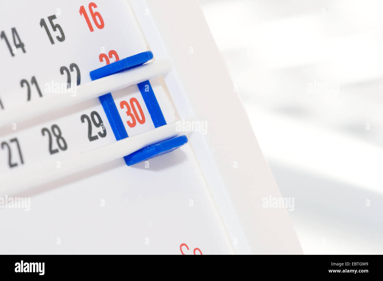 calendar marking the last day of a month - Stock Image