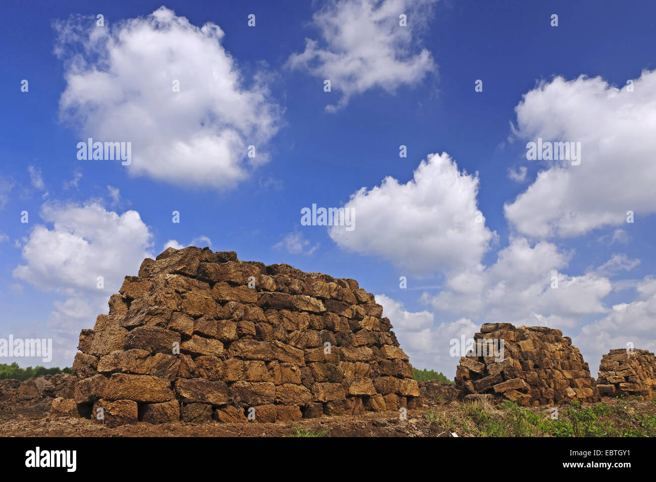 stacks of bales of peat at the peat extraction at the Goldenstedter Moor, Goldenstedt, Niedersachsen - Stock Image