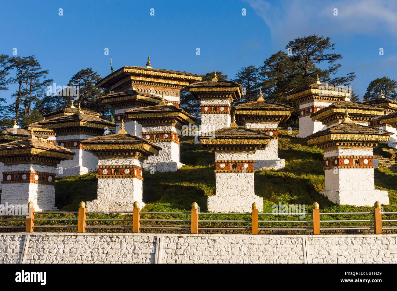 Dochula Pass, 108 chortens From Thimphu to Punakha, Bhutan - Stock Image