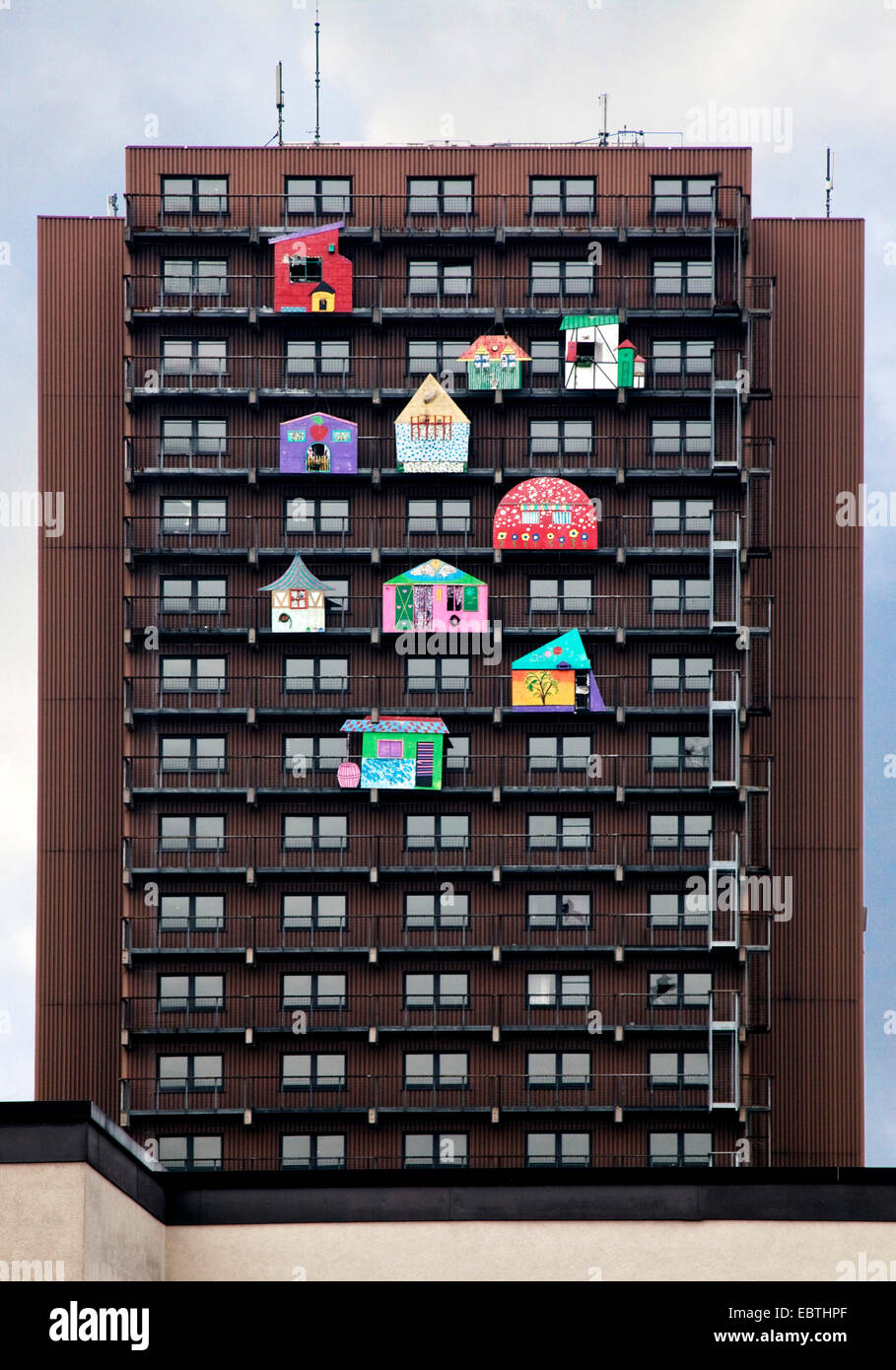work of art 'Das Glueck' of HA Schult at the facade of a tower block, Germany, North Rhine-Westphalia, Ruhr Area, Stock Photo