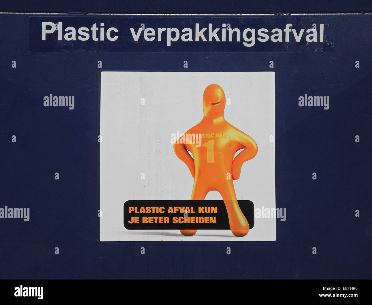 poster on a dustbin for plastic calling for waste separation Stock Photo