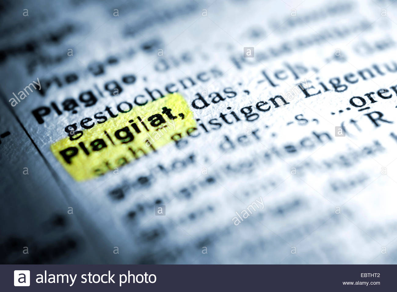 German word plagiat, plagiarism, in a dictionary - Stock Image