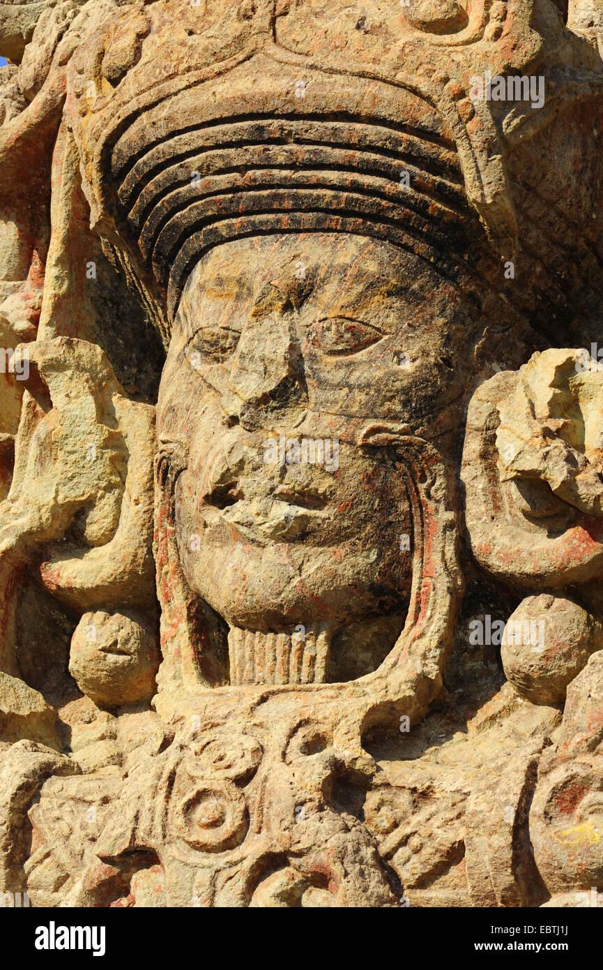 sculpture of Mayan Indian in Copan , Honduras, Copan - Stock Image