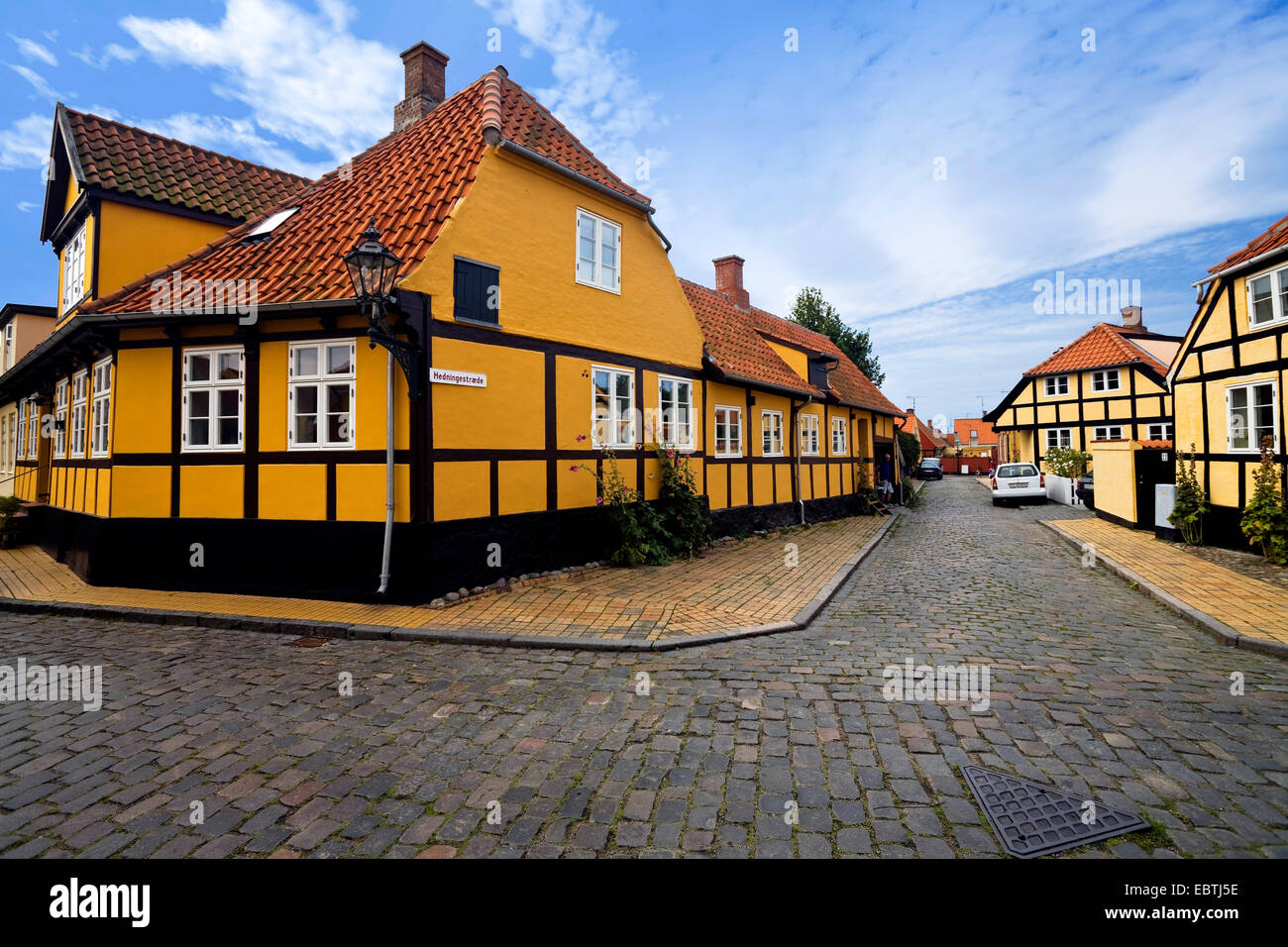 alley with half-timbered houses, Denmark, Bornholm, Roenne - Stock Image