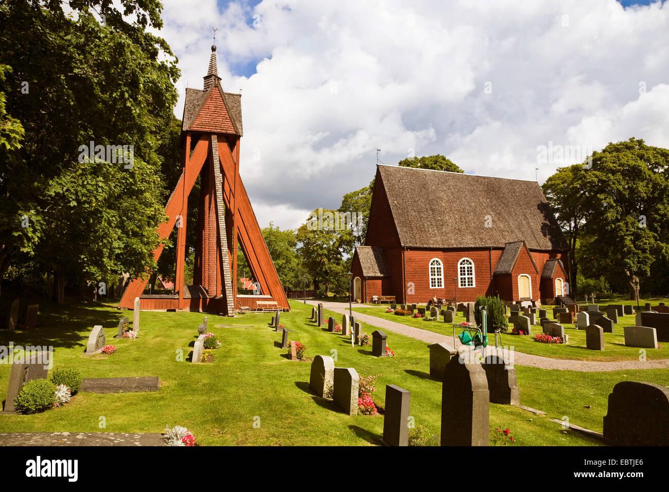 church and cemetery, Sweden, Sm�land, Kraksmala - Stock Image
