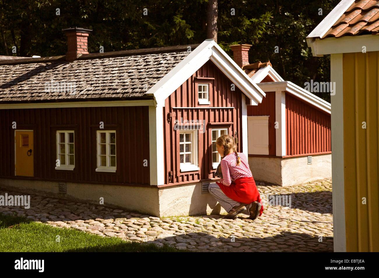 girl in theme park Astrid Lindgren Vaerld, Astrid Lindgren World, Sweden, Smaland, Vimmerby - Stock Image