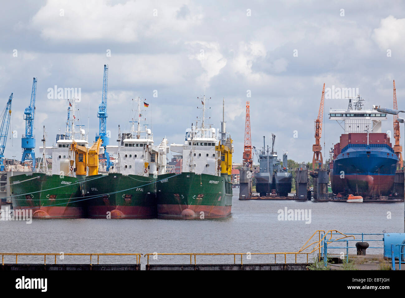 freighters in the Emdener inland harbour, Germany, Lower Saxony, East Frisia, Emden - Stock Image