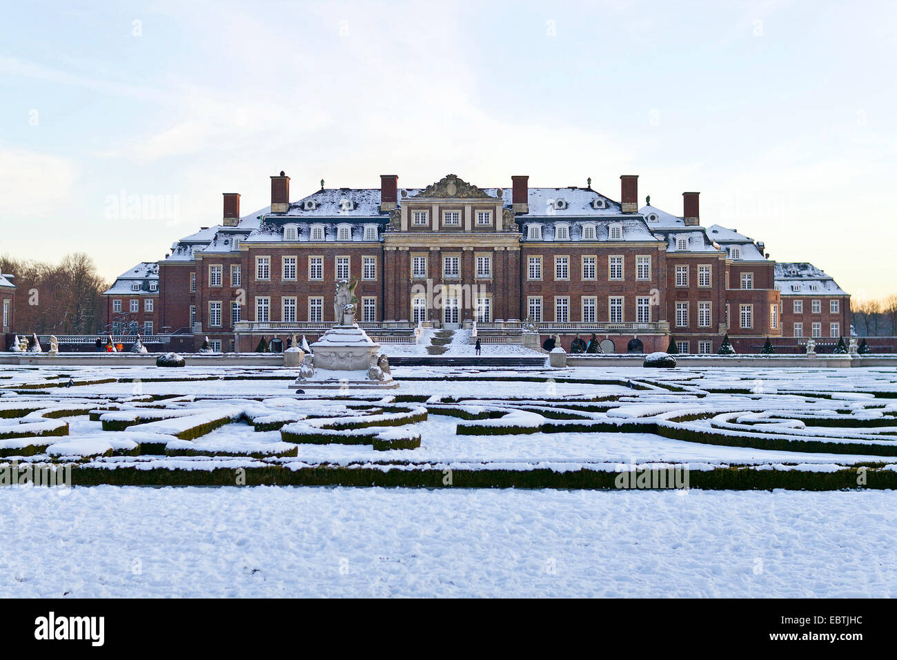 baroque moated Castle Nordkirchen in winter seen from the palace garden, Germany, North Rhine-Westphalia, Muensterland, - Stock Image