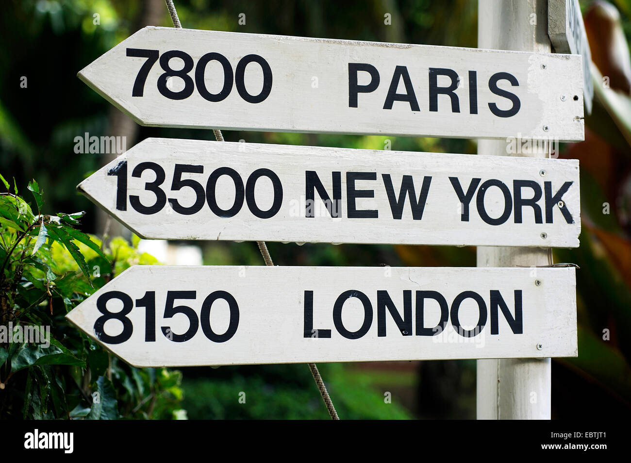 signs with distances to Paris, New York and London, Seychelles - Stock Image
