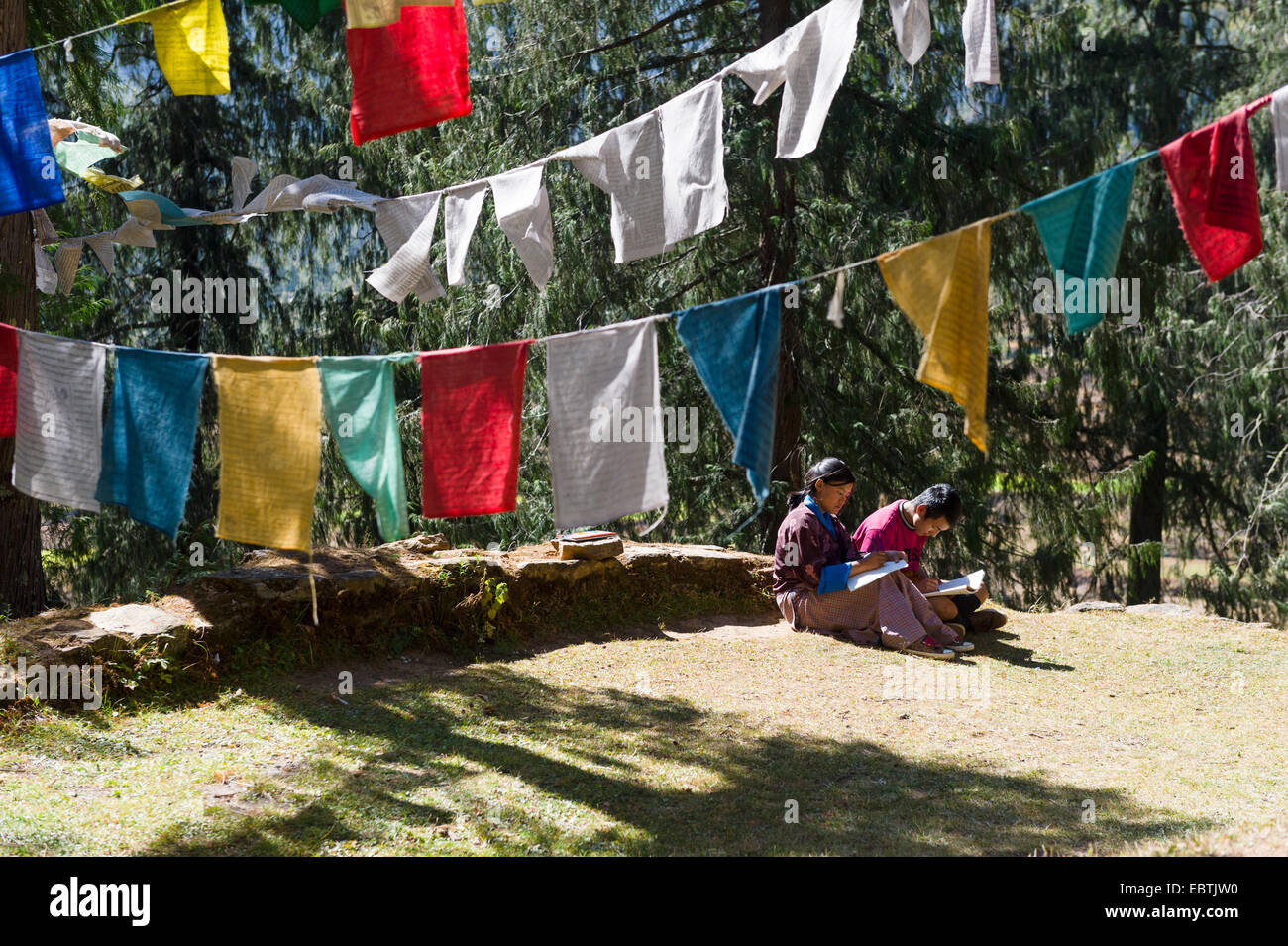 Two Students Studying under Prayer or wind flags, Bhutan - Stock Image