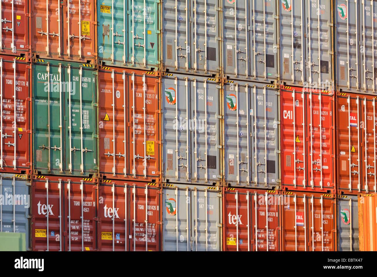 container in Dortmund harbour, Germany, North Rhine-Westphalia, Ruhr Area, Dortmund Stock Photo