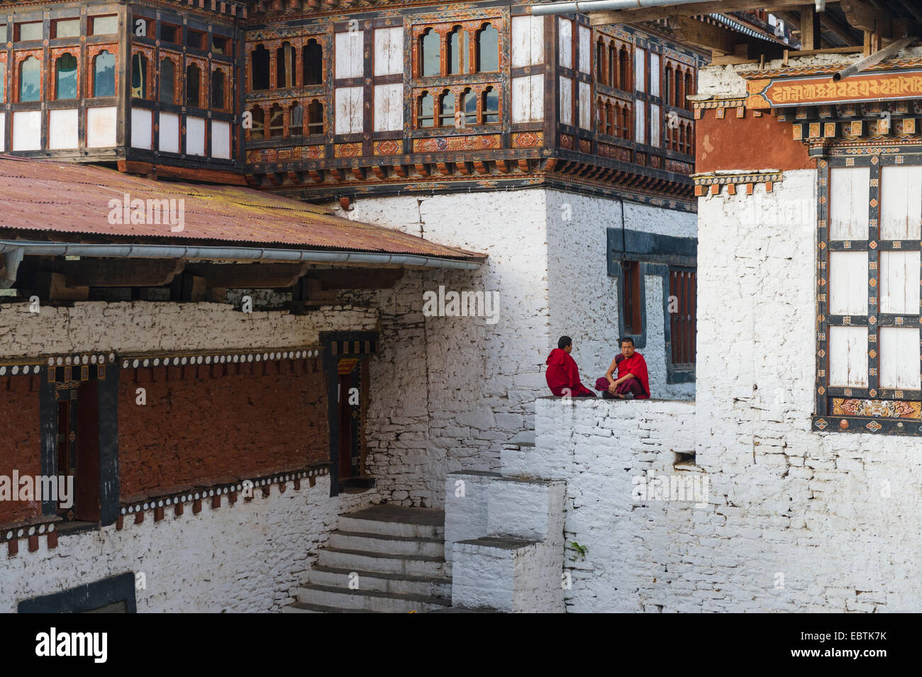Trongsa Dzong was built in 1643, dominates the major towns and serve as the administrative headquarters and the Stock Photo