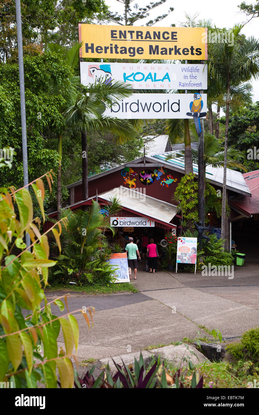 entrance of Kuranda Original Rainforest Markets, Australia, Queensland, Kuranda - Stock Image