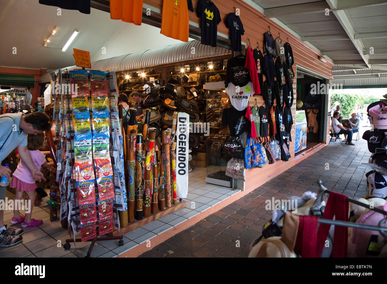 Didgeridoo Shop of Kuranda Original Rainforest Markets, Australia, Queensland - Stock Image