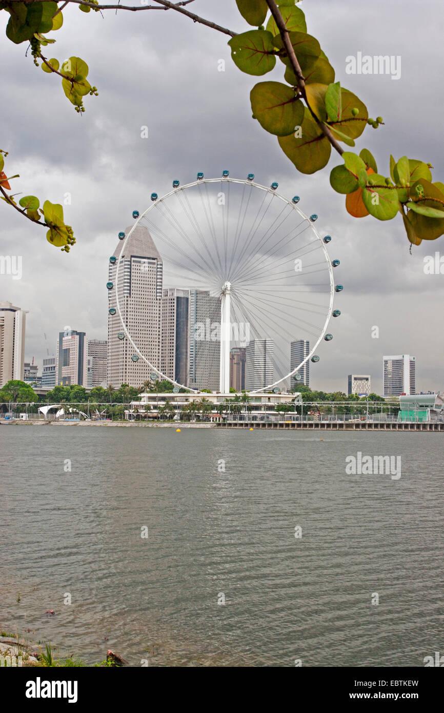 Singapore city and ferris wheel from Marina Bay Gardens. - Stock Image