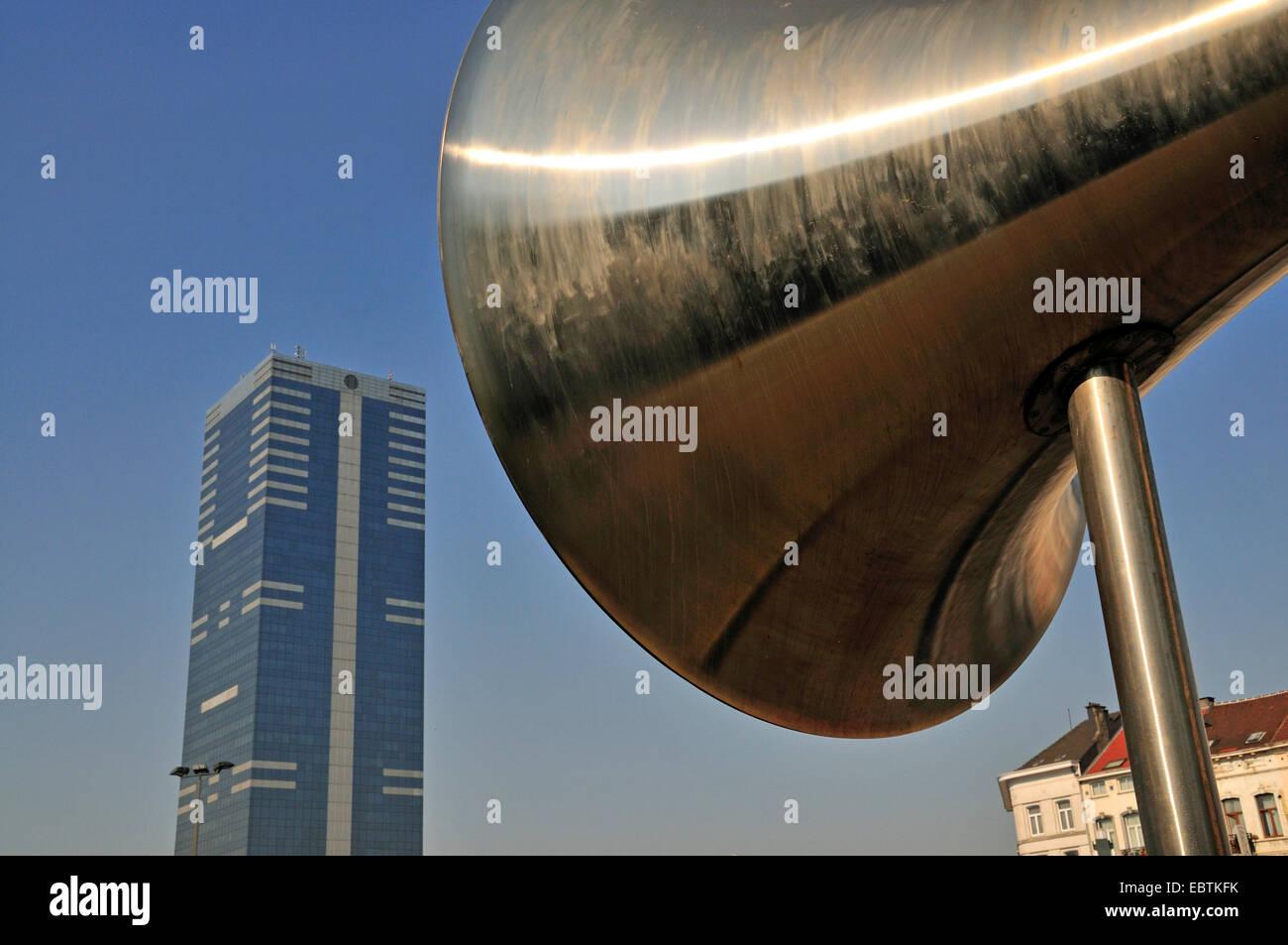 loud-hailer La Pasionaria, South Tower in background, Belgium, Brussels - Stock Image
