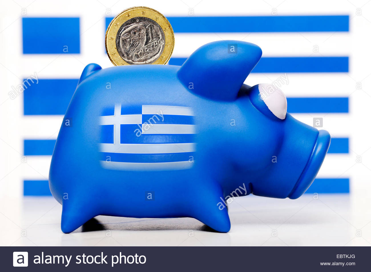 piggy bank with Greek flag and Euro, Greece - Stock Image