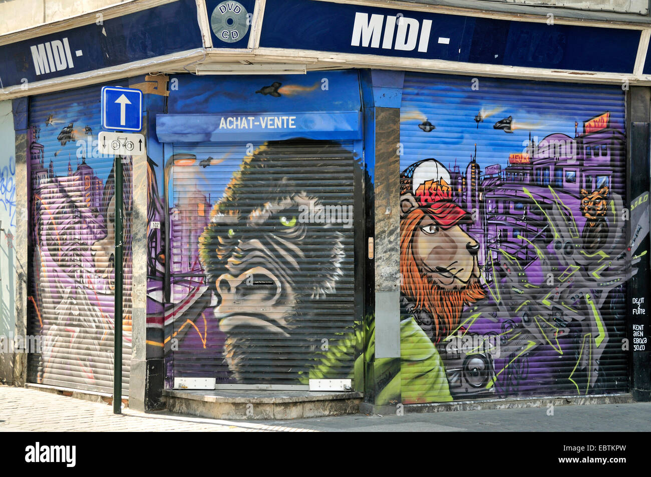 King Kong Graffiti On Roller Shutters Of Closed Store In The City Belgium Brussels