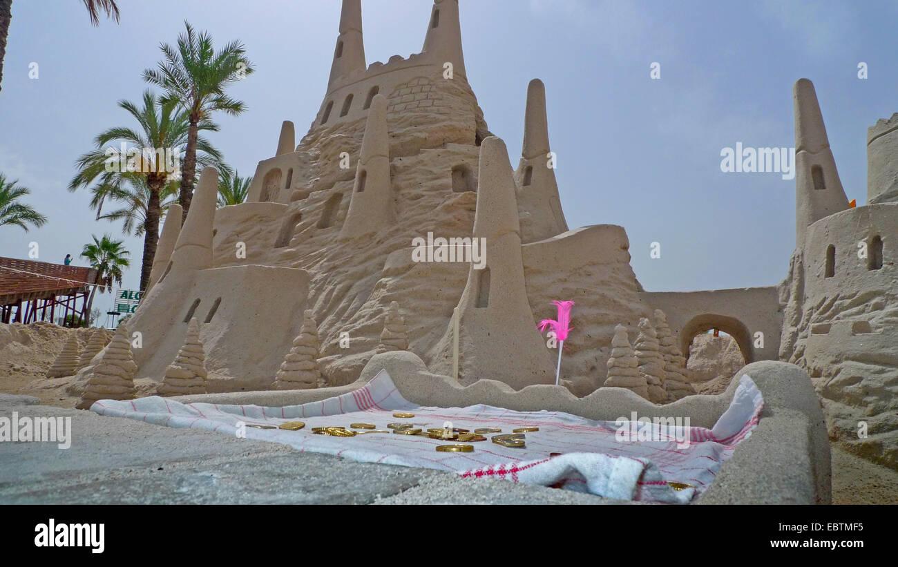 feudal sand castle at the beach, Spain, Balearen, Majorca, Alcudia - Stock Image