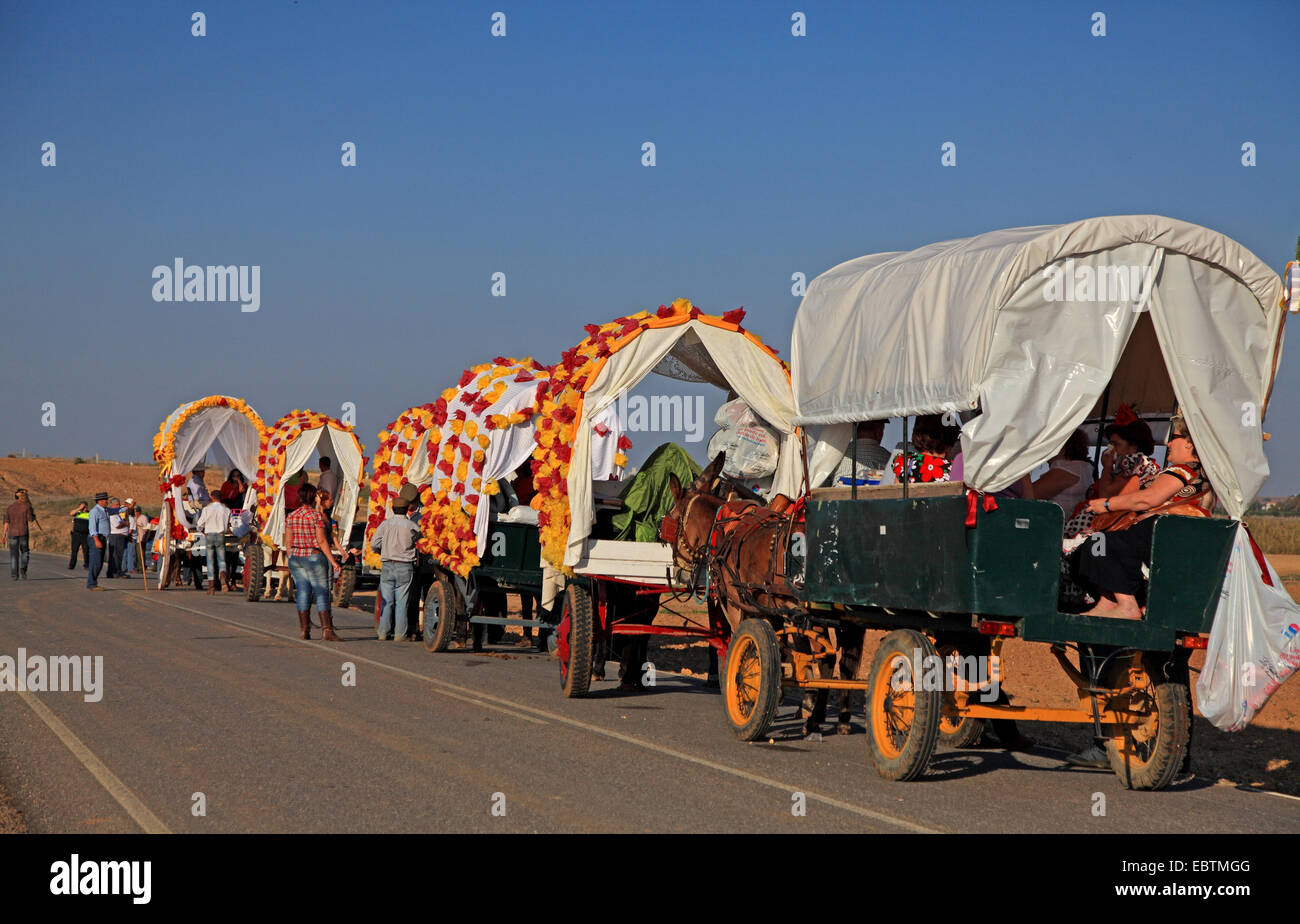 procession with carriages, Spain, Coria del Rio - Stock Image