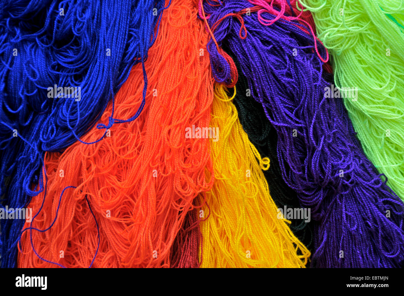 colorful dyed wool drying, Morocco, Marrakesh, Fes - Stock Image