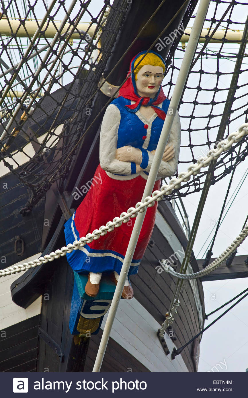 figurehead of barque 'Seute Deern', Germany, Bremerhaven - Stock Image