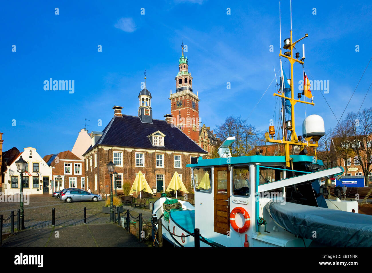 old town hall and scale at harbour, Germany, Leer - Stock Image