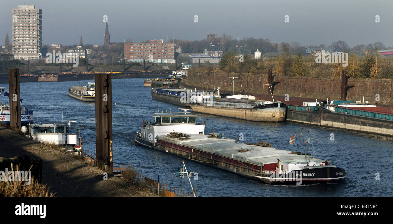cargo ships in a canal of inner harbour, Germany, North Rhine-Westphalia, Ruhr Area, Duisburg Stock Photo
