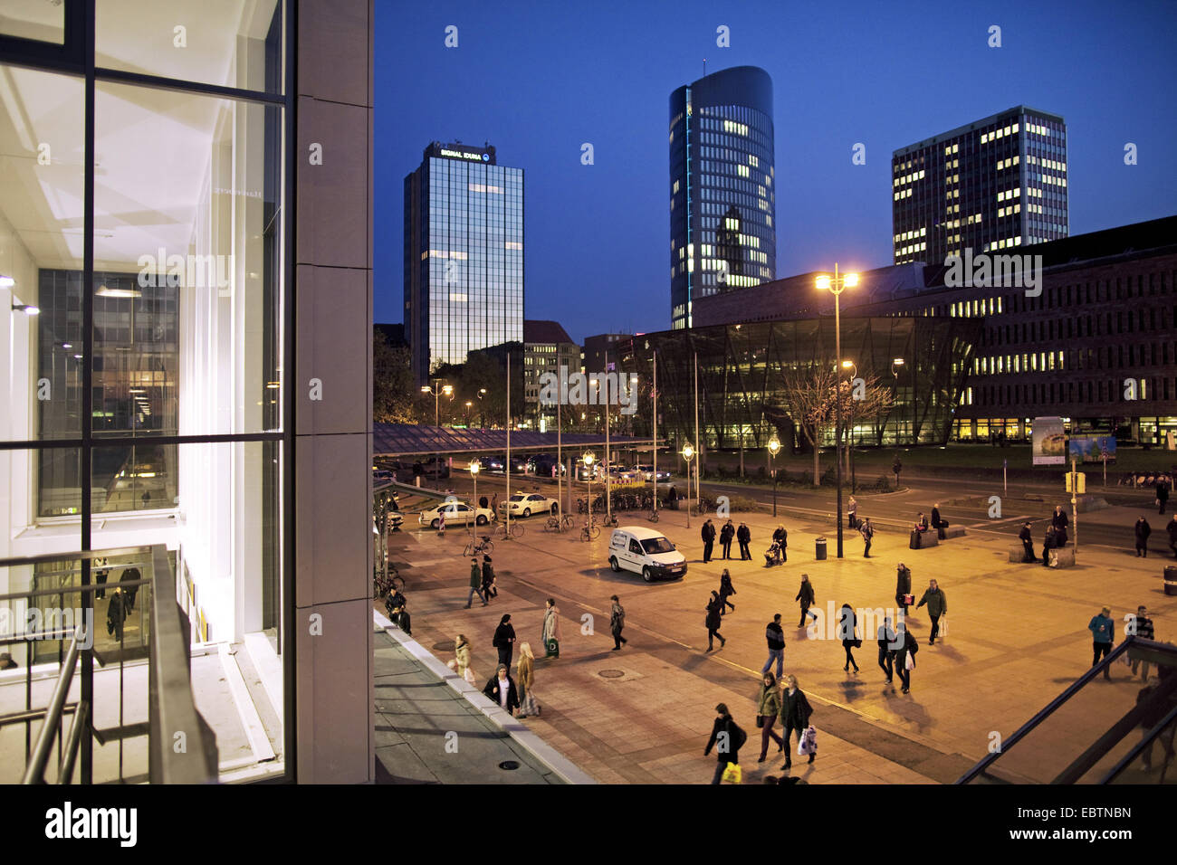 view from central station to inner city, Germany, North Rhine-Westphalia, Ruhr Area, Dortmund - Stock Image