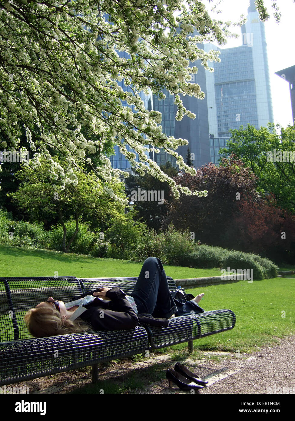 young business woman recovering from the workload lying on a bench in the municipal park in front of the panorama - Stock Image