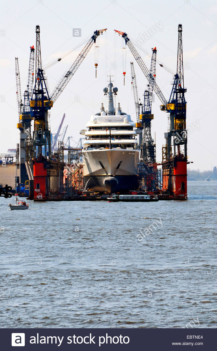 yacht in dry dock of Blohm and Voss in Port of Hamburg, Germany, Hamburg - Stock Image