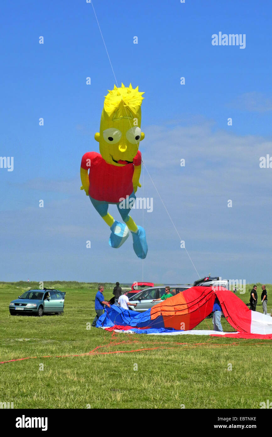 kites at the kite festival in Schillig, Bart Simpson , Germany, Lower Saxony, Frisia, Wangerland - Stock Image