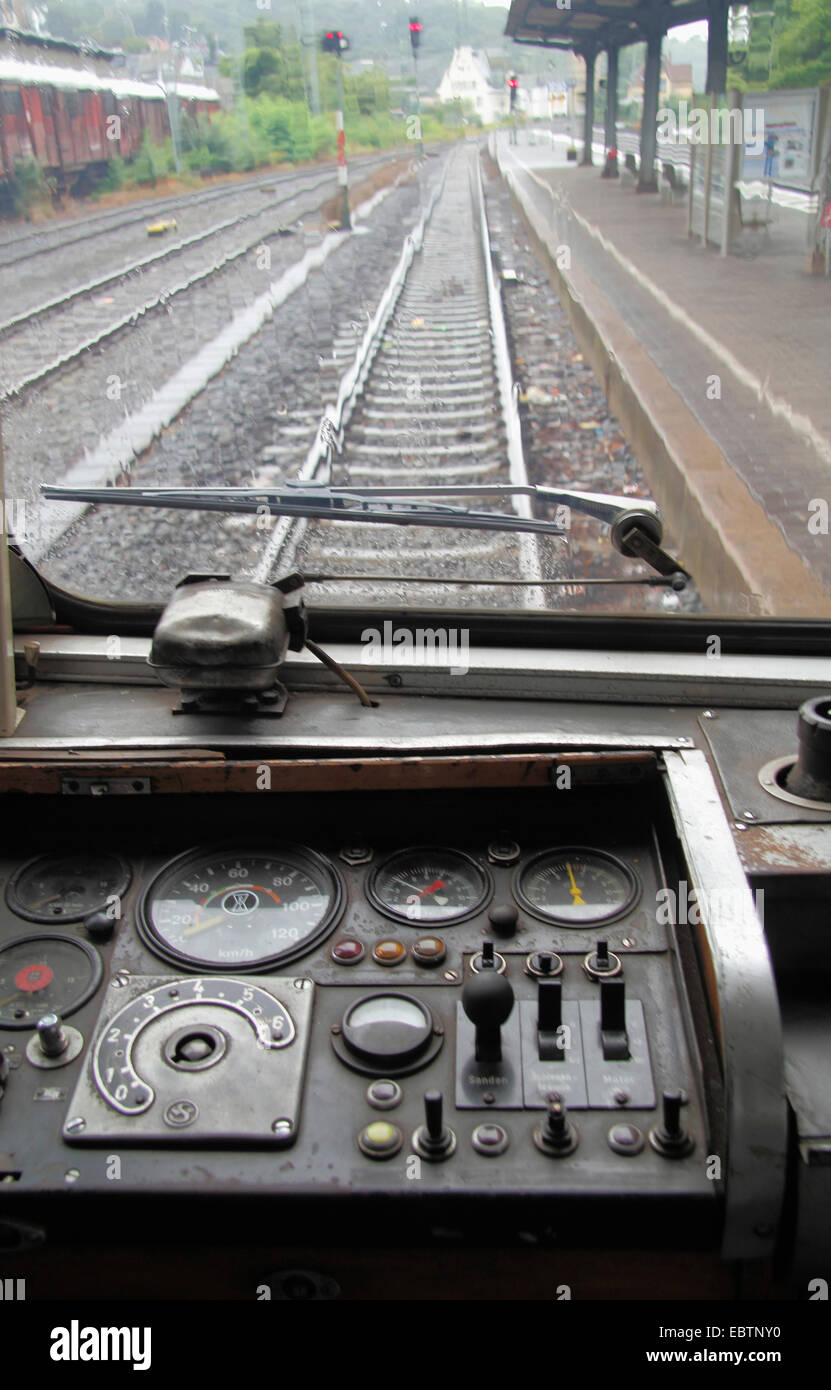 view from cockpit of a train to the track - Stock Image