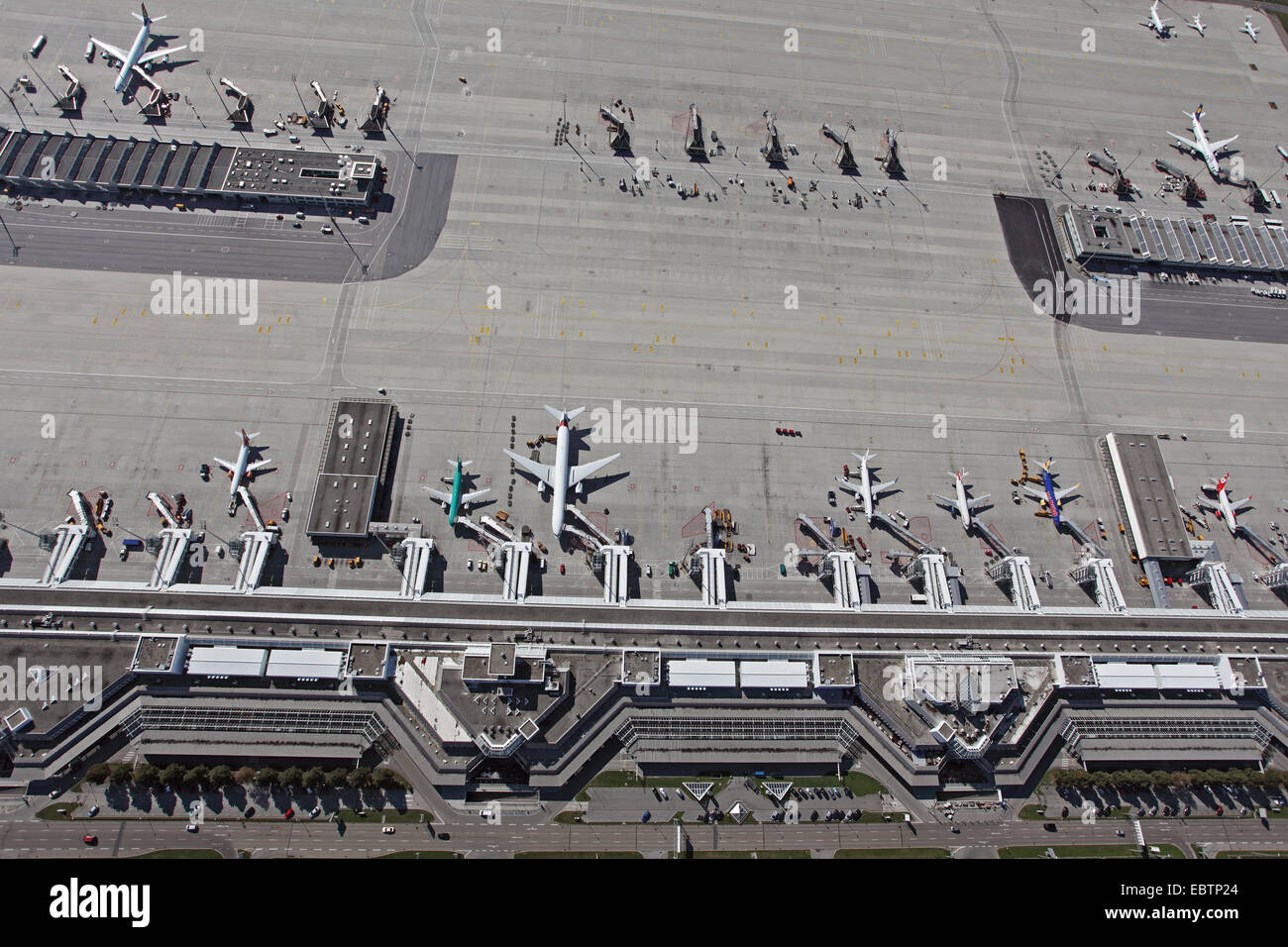 Munic airport, part of Terminal 1, Germany, Bavaria, Muenchen - Stock Image