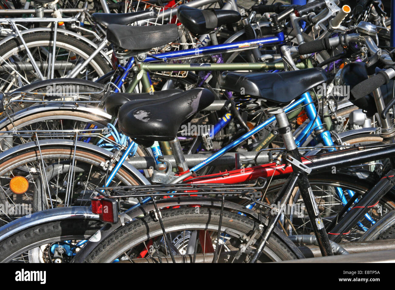 bicycle parking lot at main station in Essen, Germany, North Rhine-Westphalia - Stock Image