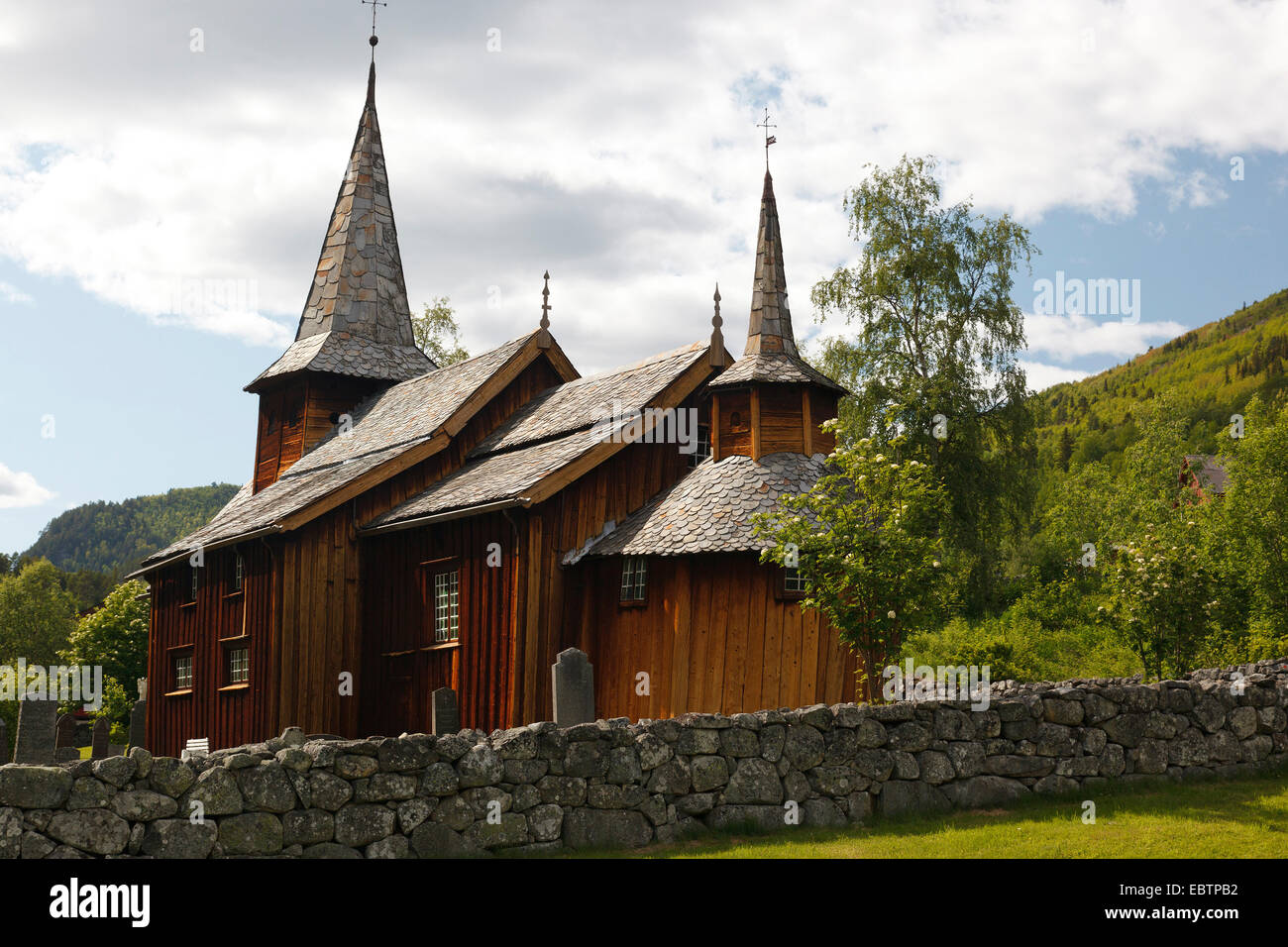 stave church in Hol, Norway, Buskerud, Holasovice - Stock Image