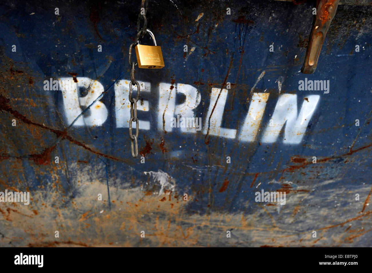 padlock at a garbage can labeled 'Berlin', Germany, Berlin - Stock Image