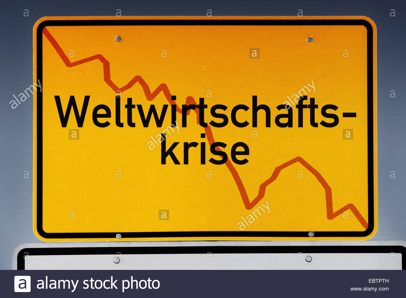 place name sign labeled 'global economic crisis' - Stock Image