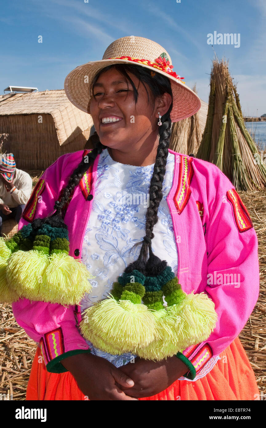 Uro woman with traditional hair decoration, Peru, Titicaca - Stock Image