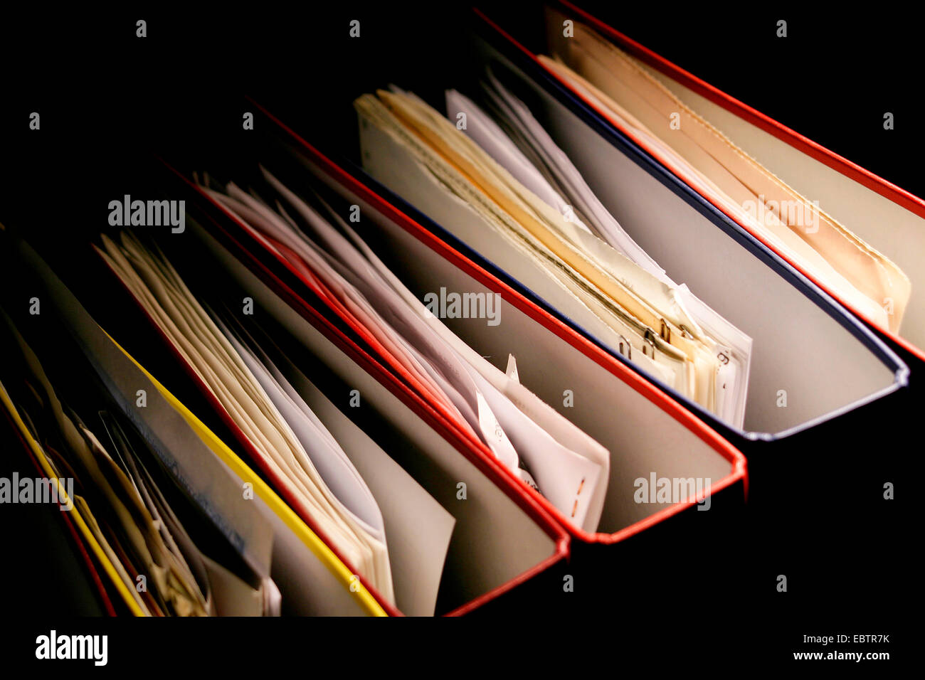 upper view of a row of files - Stock Image